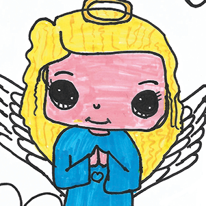 Angel drawn by young girl