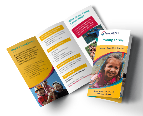 Young Carers leaflet mockup - cover and inside spread