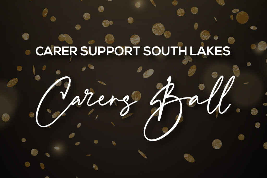 Fundraising event - Glistening confetti behind the words Carer Support South Lakes Carers Ball